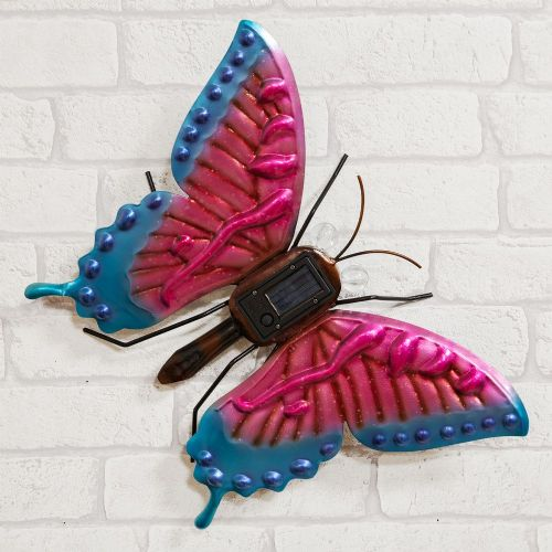 Hand Crafted Metal Butterfly Garden Ornament With Solar Powered Lights